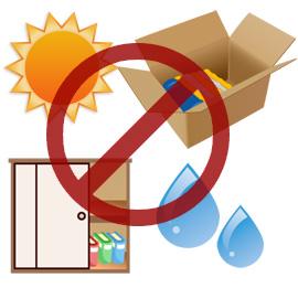 直射日光、高い湿度が写真の劣化に影響を与える。酸性紙のダンボール保管や湿度の高い押入れ収納も保管に不向き。